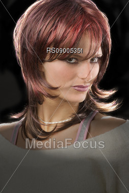 Woman with modern hairstyle Stock Photo