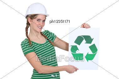 Woman With Sign And Recycling Symbol Stock Photo