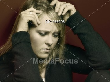 Woman With Stress Stock Photo
