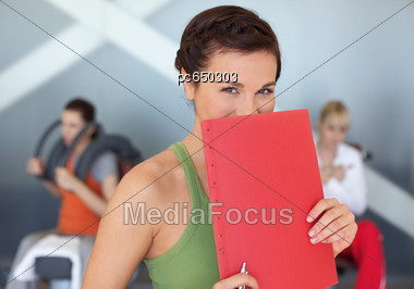 Woman With A Training Session At The Gym Stock Photo
