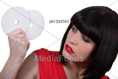 Woman With Two CD Stock Photo