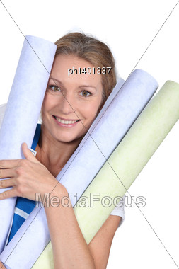 Woman With Wallpaper Stock Photo