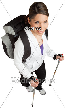 Women In Nordic Walking With A Backpack Stock Photo