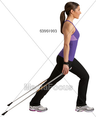 Women In Stretching Exercises For Nordic Walking Stock Photo