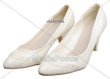 Women Leather Shoes, Isolated On A White Background Stock Photo