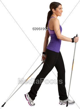 Women Nordic Walking Stock Photo