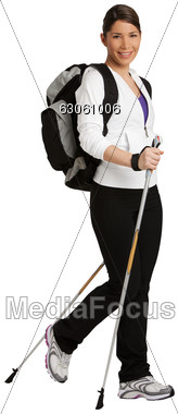 Women Nordic Walking With A Backpack Stock Photo