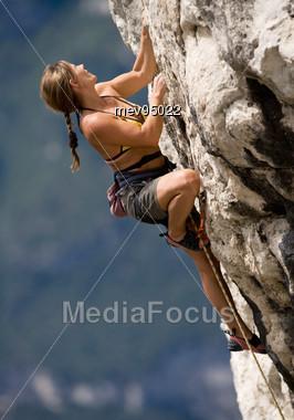 Women Rock Climbing Stock Photo