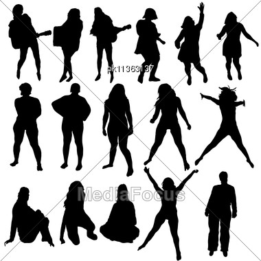 Women Silhouette Set For Design Use. Vector Illustration. Stock Photo