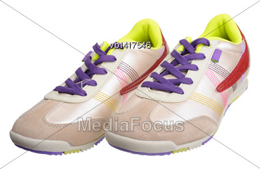 Women's Sneakers, Isolated On A White Background Stock Photo