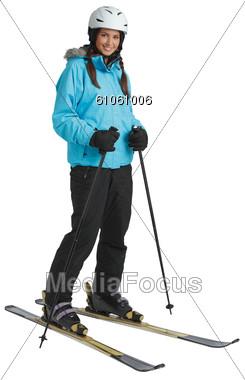 Women Standing On Skis Stock Photo