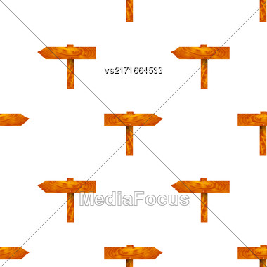 Wood Arrows Seamless Pattern On White Background. Signpost Icons Stock Photo