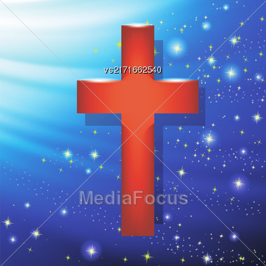 Wood Cross On Blue Wave Starry Background. Symbol Of Religion Stock Photo