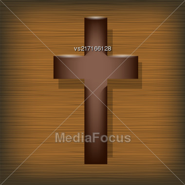 Wood Cross On Wooden Brown Background. Symbol Of Religion Stock Photo
