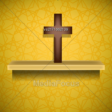 Wood Cross On Yellow Ornamental Brown Background. Symbol Of Religion Stock Photo