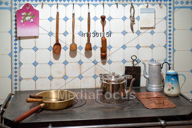 Stock Photo Wood Metal Objects Kitchen Art Nouveau - Image