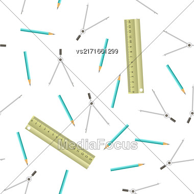 Wood Rulers Seamless Pattern Isolated On White Background Stock Photo