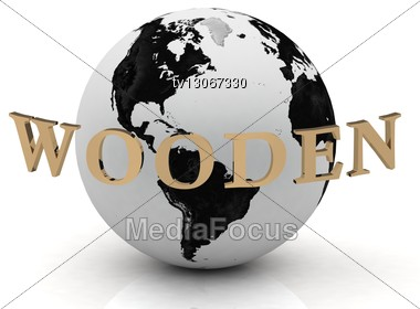 WOODEN Abstraction Inscription Around Earth Stock Photo