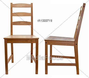 Royalty Free Stock Photo: Wooden Chair Over White