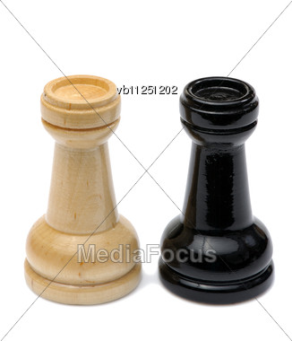 Wooden Chess Pieces Light And Dark Colors Stock Photo