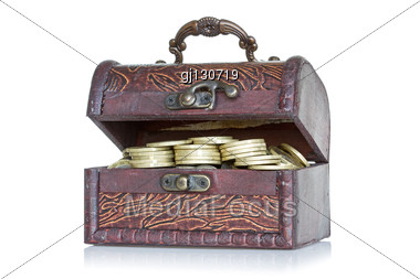 Wooden Chest With Coins Inside. Stock Photo