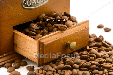 Wooden Coffee Grinder Drawer With Beans On White Stock Photo