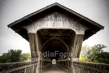 Wooden Covered Bridge Guelph Ontario Over Eramosa River Stock Photo