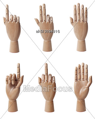 Wooden Hand Isolated Stock Photo