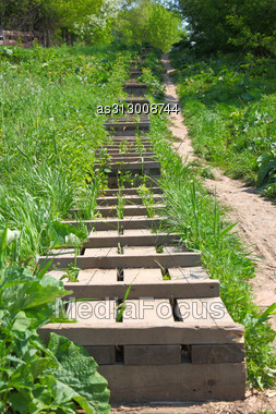 Wooden Ladder Is Located A Hill Slope Stock Photo