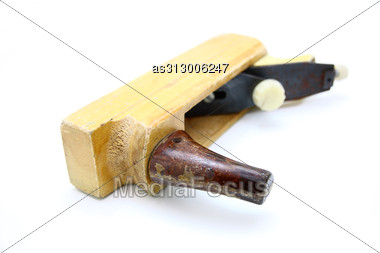 Wooden Plane, Boards And A Shaving Stock Photo