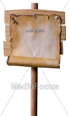 Wooden Pointer Nailed To It With Nails Old Grunge Paper With Empty Place For Text. All Made By Me Stock Photo