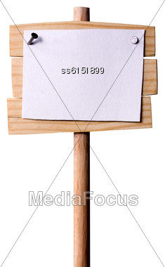 Wooden Pointer Nailed To It With Nails Paper With Empty Place For Text. All Made By Me Stock Photo