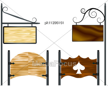 Wooden Vector Blank Wooden Billboards For Your Text Stock Photo