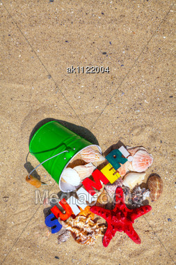 Wooden Word 'Summer!' On Sand At The Beach Stock Photo