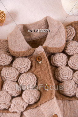 Woolen Child Blouse Closeup Stock Photo