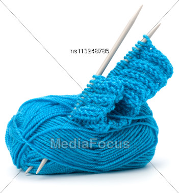 Woollen Thread And Knitting Needle. Needlework Accessories Isolated On White Background Stock Photo