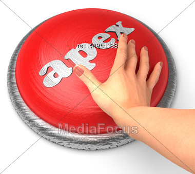 Word Apex On Button With Hand Pushing Stock Photo
