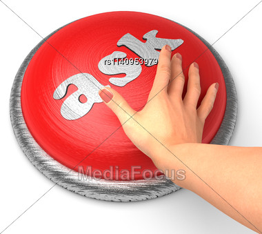 Word Ask On Button With Hand Pushing Stock Photo