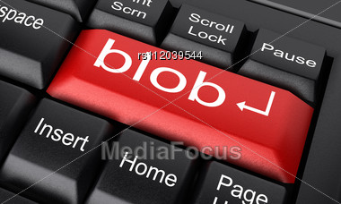 word blob on keyboard stock image rs112039544