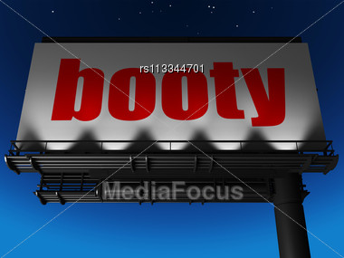 Word Booty On Billboard Stock Photo