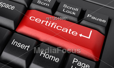 Royalty Free Stock Photo: Word Certificate On Keyboard  Certificate In Word
