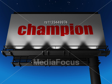 Word Champion On Billboard Stock Photo