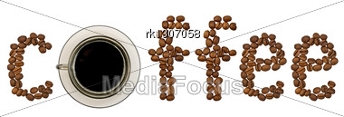 Word Of Coffee Beans With A Cup Of Coffee From A Brown Glass Stock Photo