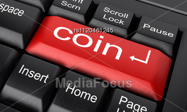 Word Coin On Keyboard Stock Photo