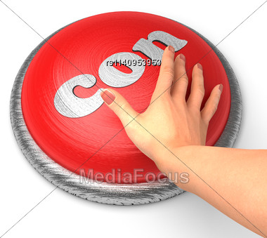 Word Con On Button With Hand Pushing Stock Photo