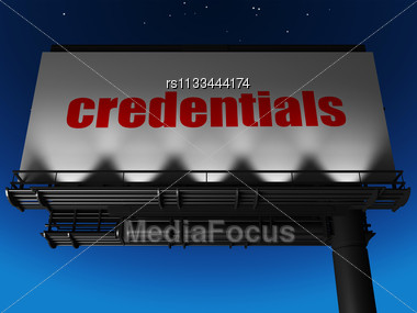 Word Credentials On Billboard Stock Photo