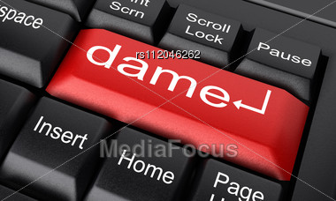 f910730aa94761 Word Dame On Keyboard Stock Photo. Inspect Details