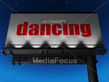 Word Dancing On Billboard Stock Photo