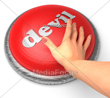 Word Devil On Button With Hand Pushing Stock Photo