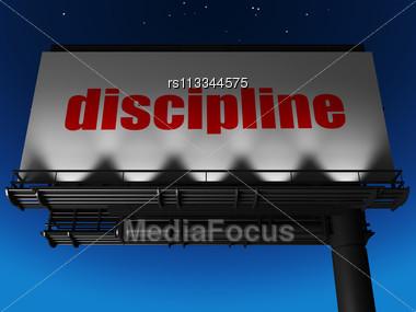 Word Discipline On Billboard Stock Photo